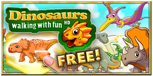 Dinosaurs walking with fun 2D